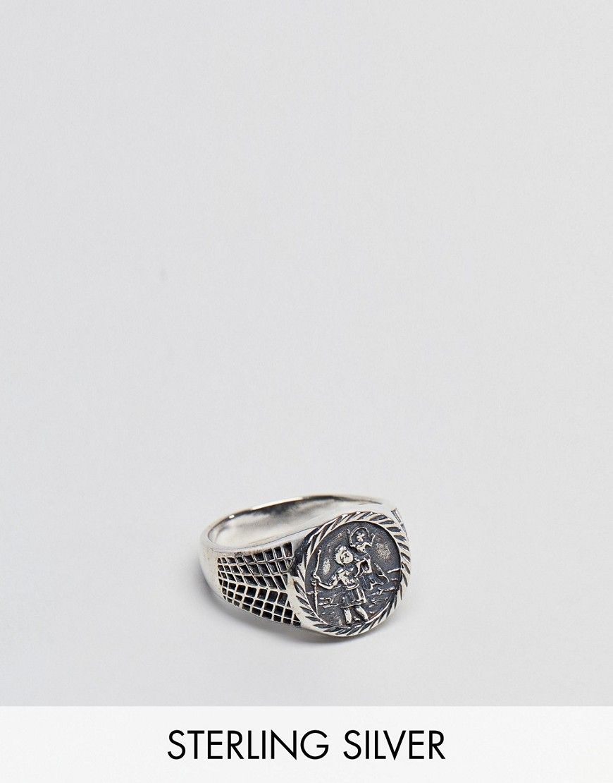 asos s silver sterling sovereign ring with st