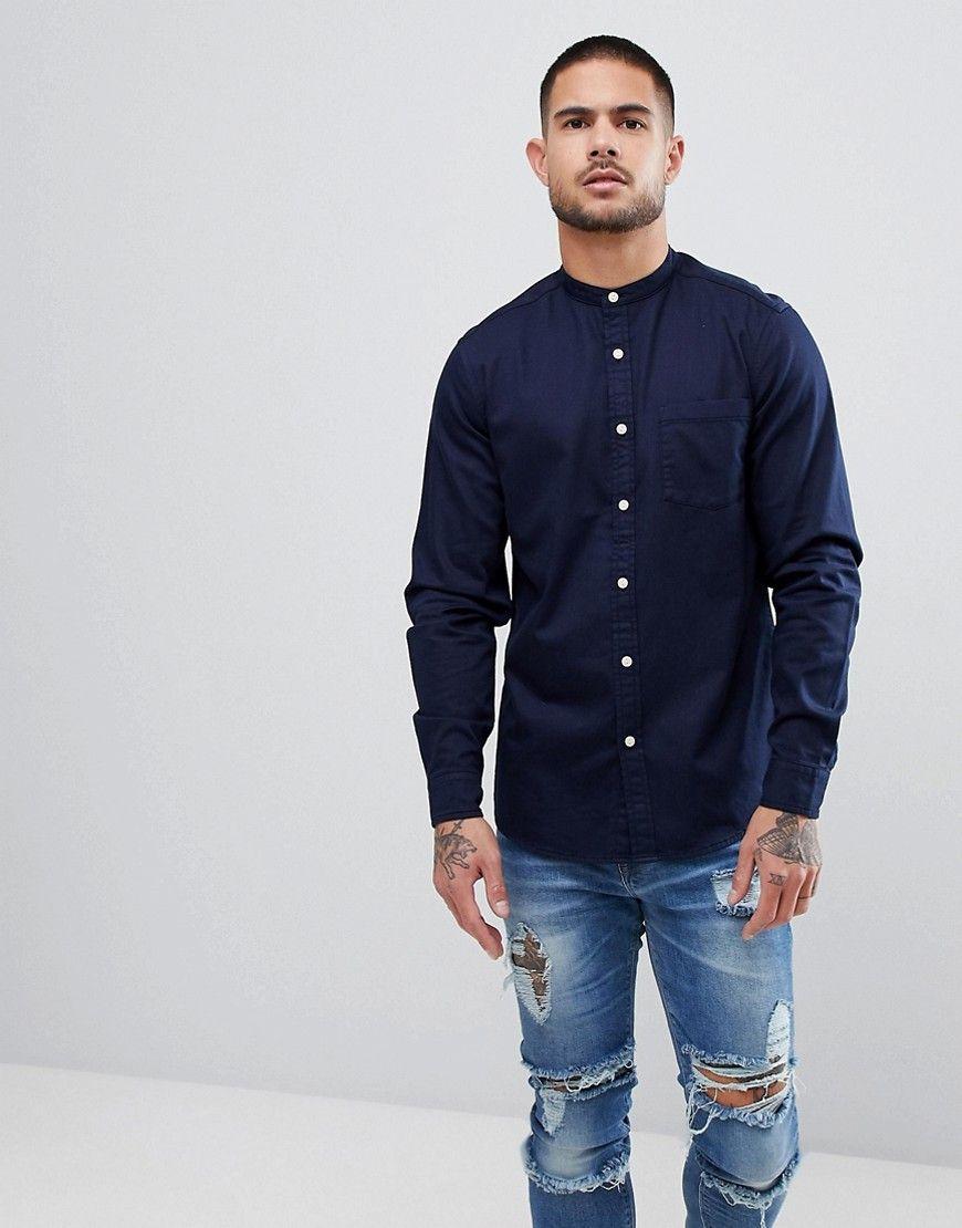 asos men 39 s navy stretch slim denim shirt with grandad collar 6815114. Black Bedroom Furniture Sets. Home Design Ideas