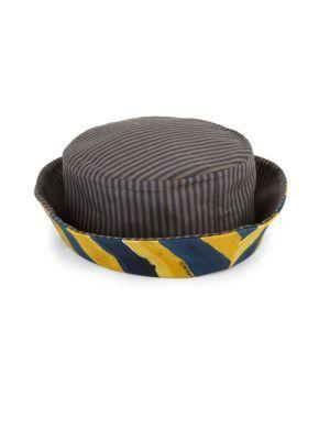 Fendi Men's Blue Reversible Striped Cotton Canvas Bucket ...