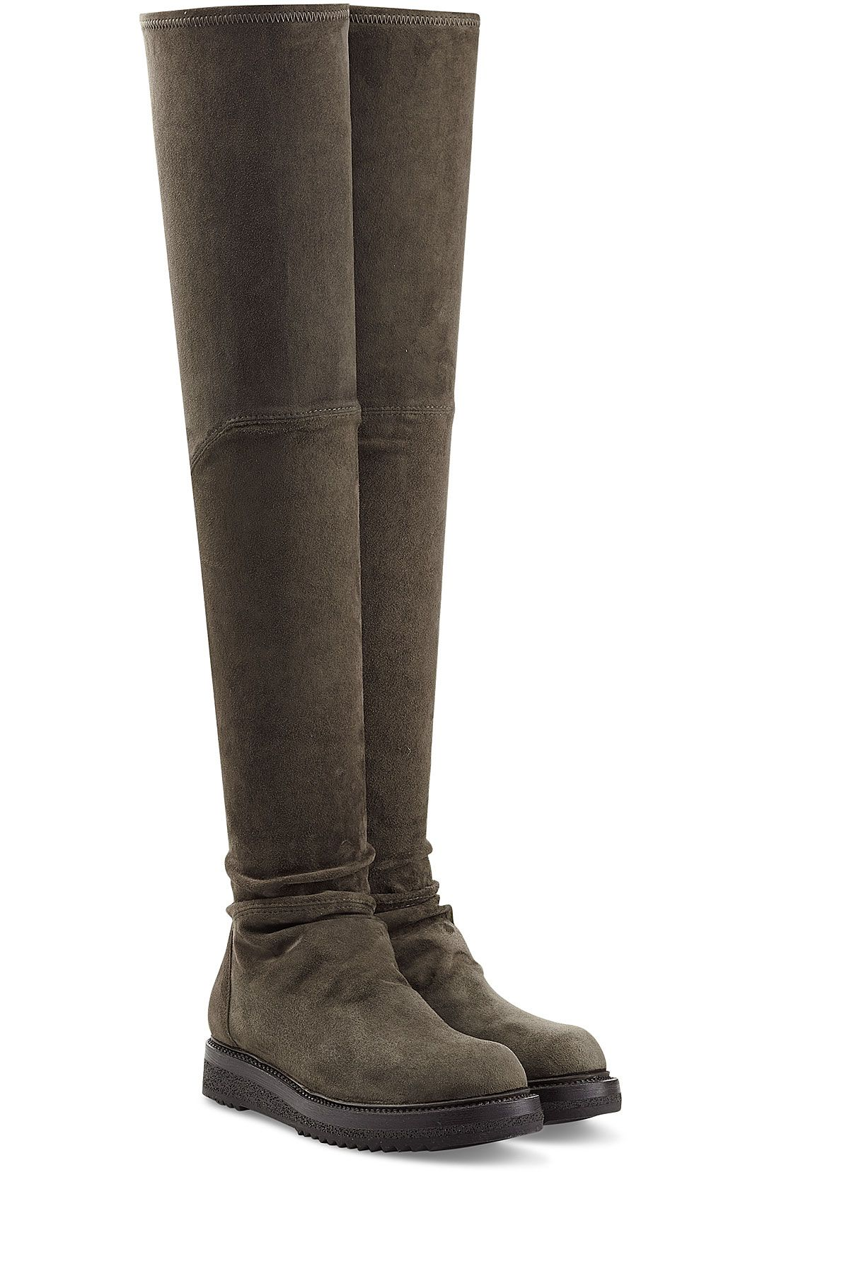 rick owens s green suede the knee boots gr 35