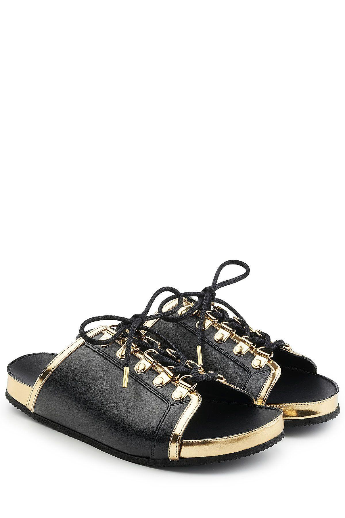 Balmain Black Leather Lace Up Slides Gr Fr 38 266780
