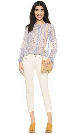 Long Sleeve Amanda Print Top REBECCA TAYLOR                                                                                                              Snow/Lilac color