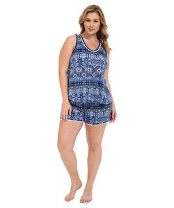 Lucky Brand | Plus Size Knit Shorty Set Persian Holiday Womens