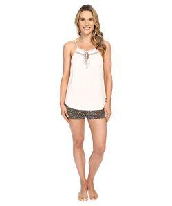Lucky Brand | Smocked Shorty Set Ivy Woodblock Fern Womens Pajama
