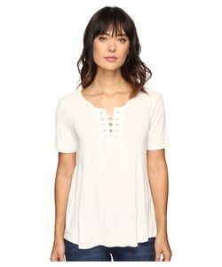 Calvin Klein Jeans | Laced-Up Short Sleeve Tee Marshmallow Womens T