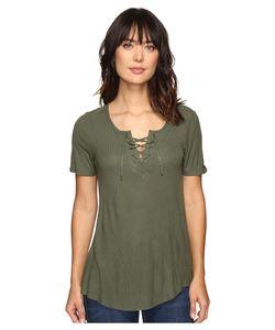Calvin Klein Jeans | Laced-Up Short Sleeve Tee Veiled Fern Womens