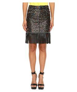 Jeremy Scott | Studded Leather Fringe Skirt Womens Skirt