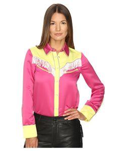 Jeremy Scott | Satin Fringe Western Blouse Pink/Yellow Womens Blouse