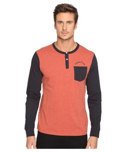Primitive | Pocket Arch Long Sleeve Henley Cardinal Heather Mens Clothing