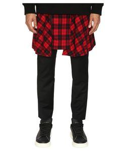 D.Gnak   Pants With Detachable Wrap Check Skirt / Mens Casual