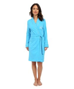 Lauren Ralph Lauren | Essentials Quilted Collar And Cuff Robe Turquoise