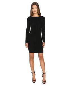 Versace Collection   Long Sleeve Knit Boat Neck Dress Nero Womens