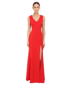 Marchesa Notte | Sleeveless Crepe Gown With Slit And Illusion Re-Embroide