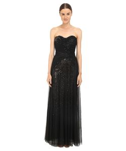 Marchesa Notte | Sequin Gown W/ Draped Tulle Overlay Womens