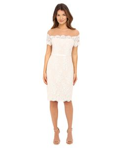Marchesa Notte | Short Sleeve Lace Cocktail With Beaded Illusion Neckline