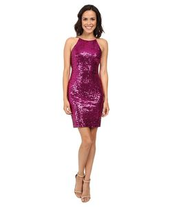 Badgley Mischka | Sequin Cowl Back Cocktail Dress Fuchsia Womens Dress
