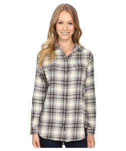 Woolrich   Malila Peak Flannel Shirt Cream Hunt Plaid Womens Long
