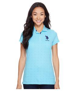 U.S. POLO ASSN. | Dot Print Pique Polo Shirt Bachelor Button