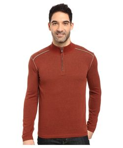 Ecoths | Noah Zip Neck Sweater Henna/Gravel Mens Long Sleeve Pullover