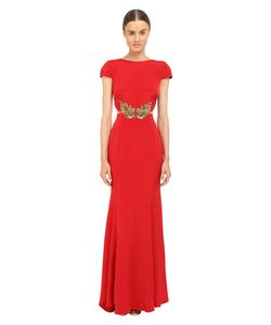 Marchesa Notte | Crepe Gown W/ Side Cut Outs Womens