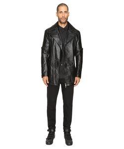 D.Gnak   Zip Sleeve Leather Jacket Mens Coat