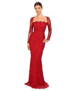 Marchesa Notte | Long Sleeve Lace Gown With Illusion Neckline
