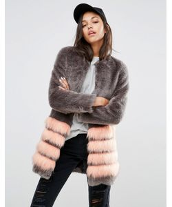 Unreal Fur | Tundra Faux Fur Coat With Stripe