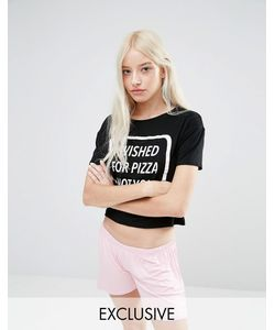 Adolescent Clothing | Wished For Pizza Pyjama Set Black Pink