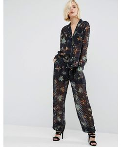 Religion | Pyjama Trousers In Sheer Spot With Painted Thistles Co-Ord