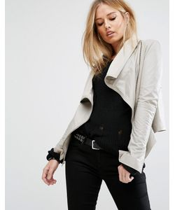 Muubaa | Asymmetric Funnel Neck Leather Jacket Drizzle
