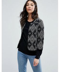 Vero Moda | Printed Blazer With Contrast Piping