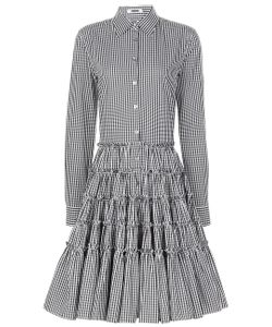 Jourden | White Gingham Tiered Shirt Dress