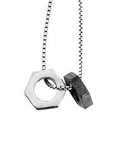 Tateossian | Gunmetal Chain Bolt Necklace