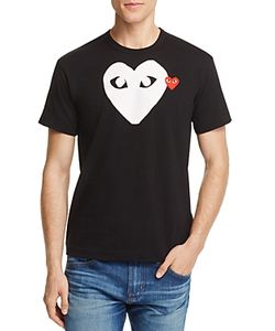 Comme Des Garçons Play | Comme Des Garcons Play Double Heart Logo Graphic Tee