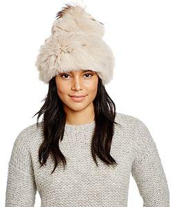 Jocelyn   Rabbit Fur Hat With Fox Fur Pom-Pom