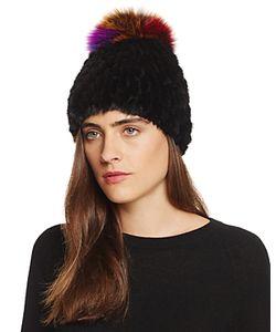 Jocelyn   Mink Fur Beanie With Fox Fur Pom-Pom 100