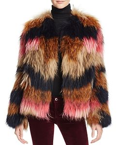 Meteo By Yves Salomon   Striped Fur Jacket 100 Exclusive