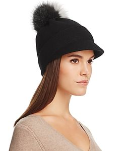 Inverni | Visor Cap With Two-Tone Fox Fur Pom-Pom