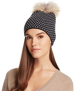 Inverni | Two-Tone Beanie With Asiatic Raccoon Fur Pom-Pom