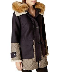 Karen Millen | Faux Fur Collar Hooded Coat