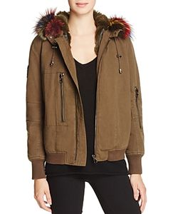 Jocelyn   J. Military Patched Fur-Lined Bomber Jacket 100 Exclusive