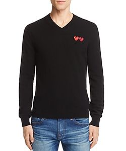 Comme Des Garçons Play | Comme Des Garcons Play Wool Double Heart V-Neck Sweater