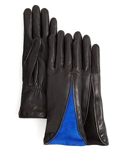 Agnelle | Zipper Leather Gloves With Suede Insert