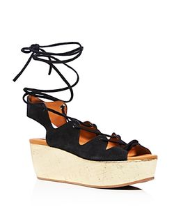 See by Chloé   See By Chloe Liana Cork Wedge Lace Up Sandals