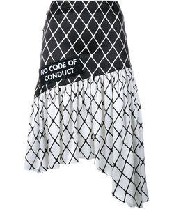 Ashley Williams   Fishnet Print Asymmetric Silk Skirt
