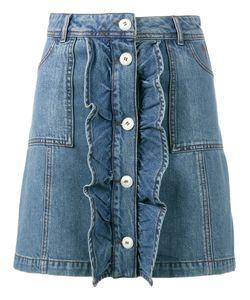 Ganni | Mini Denim Skirt With Frilled Front