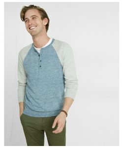 Express | Mens Color Block Raglan Henley Sweater