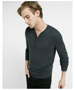 Express | Mens Merino Wool Blend Henley Sweater