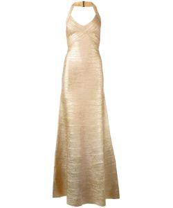 Hervé Léger | Embossed Detail Evening Dress Womens Size Medium Rayon/Nylon/Spandex/Elastane