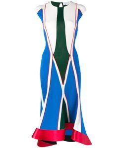 Esteban Cortazar | Geometric Ribbed Dress Womens Size 36 Viscose/Acetate/Polyamide/Spandex/Elastane